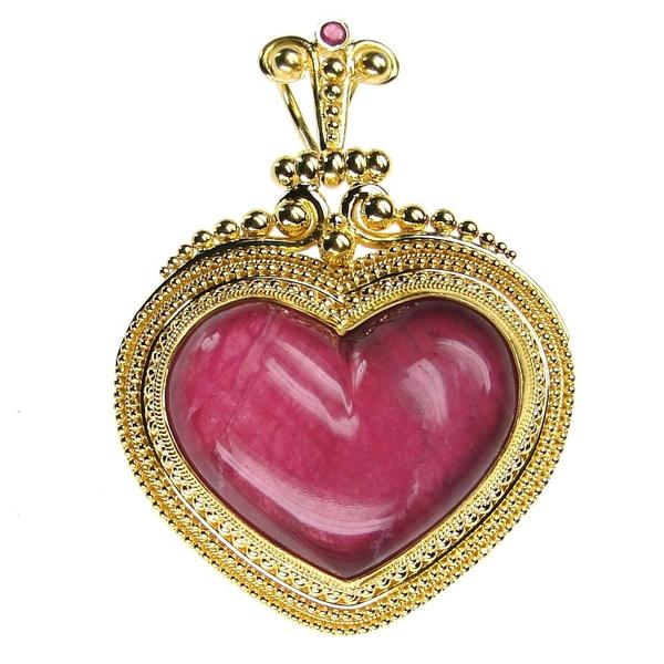 18k Gold Ruby Heart Pendant Large