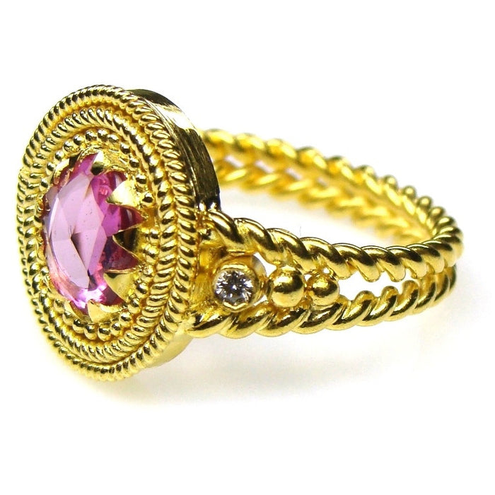 Diamonds and Pink Sapphire Ring Side View