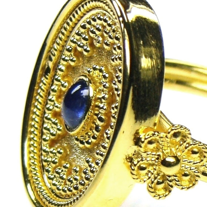 Sapphire Koilos Face Ring Detailed Side View