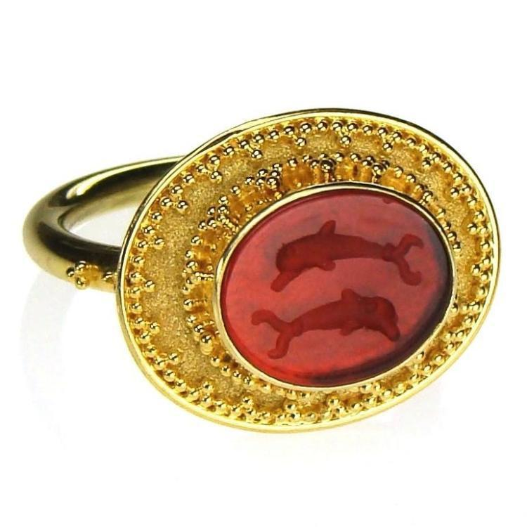 Carved Agate Dolphins Intaglio Ring