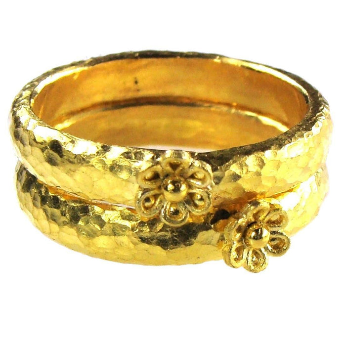 Hammered 24k Gold Flower Band Ring