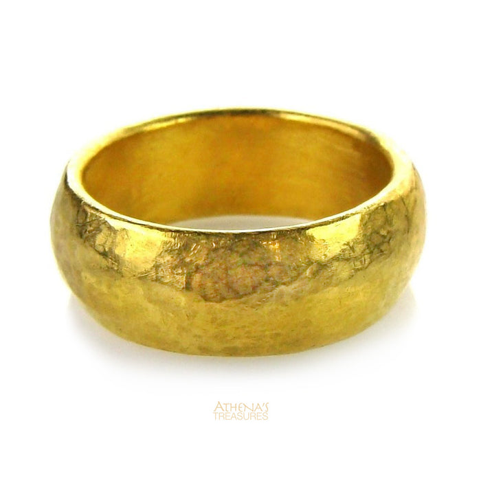 Hammered 24k Gold Band Ring