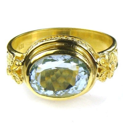 Evangelatos 22k Aquamarine Classical Ring