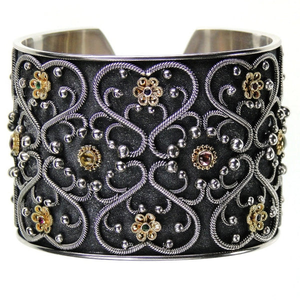 Flower Gate Black Cuff Bracelet