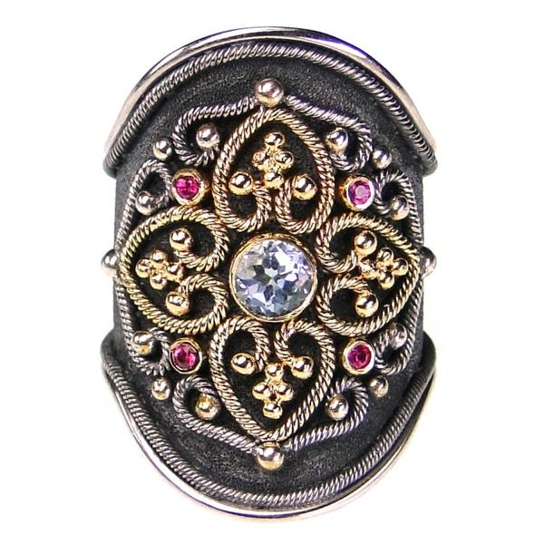 Rubies and Aqua Black Silver Flower Ring