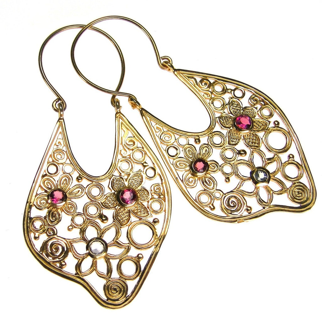 Evangelatos Open Flower Stone Flow Earrings
