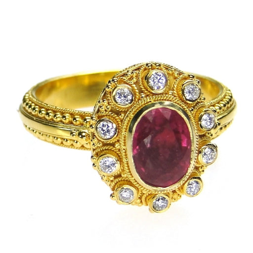 Roped Diamonds Rubellite Ring