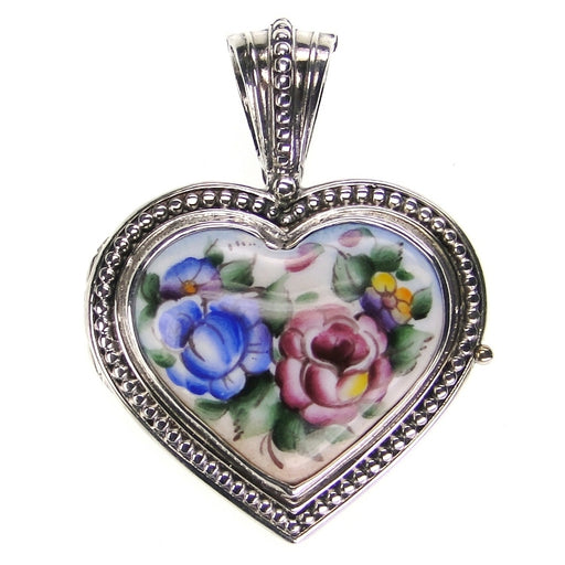 Large Hand Painted Heart Locket
