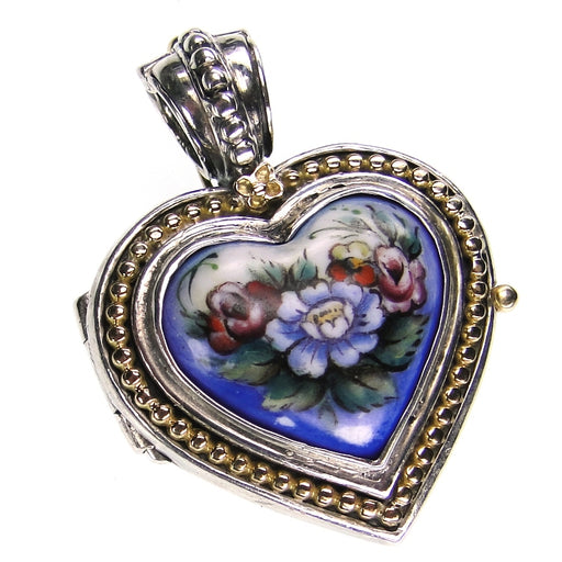 Hand Painted Gold Border Heart Locket