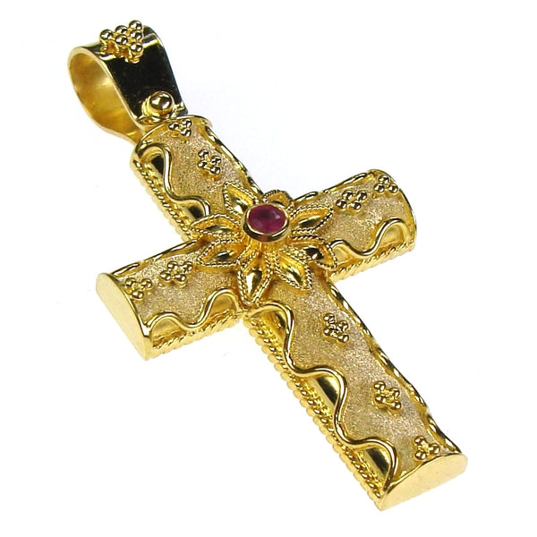 Flower Burst Damaskos 18k Gold Cross