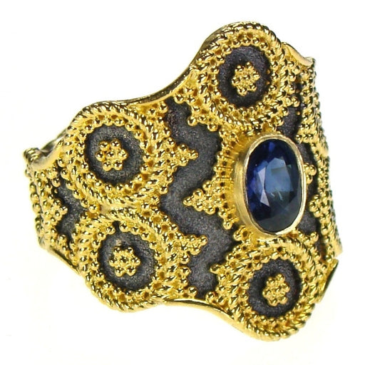 Sapphire Black Gold Oracle Ring