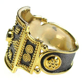 Sapphire Black Gold Thiva Shield Ring side view
