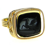 Carved Onyx Pegasus Intaglio Ring