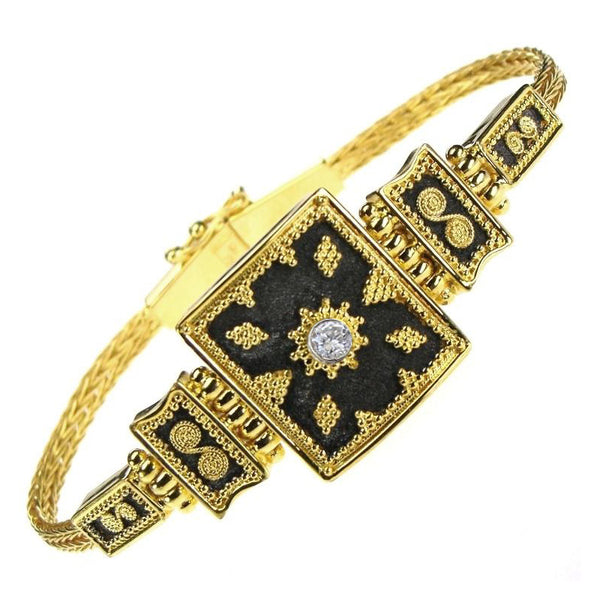 Diamond Black Gold Thiva Shield Bracelet
