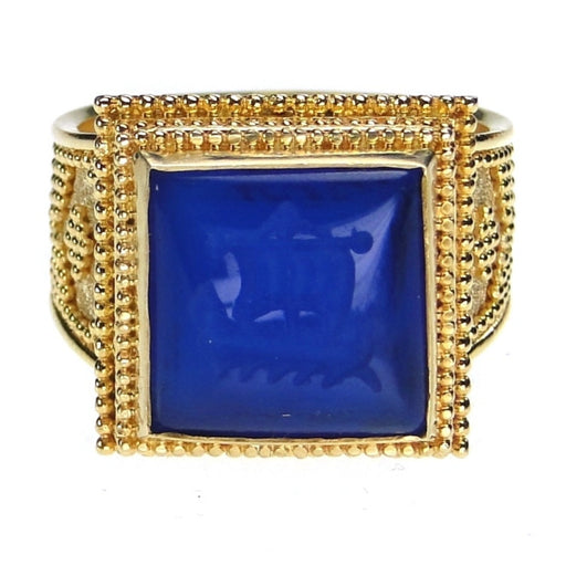 Carved Lapis Trireme Intaglio Ring