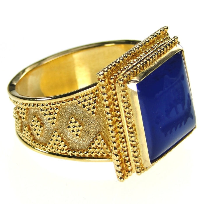 Carved Lapis Trireme Intaglio Ring side view