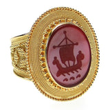 Carved Agate Trireme Intaglio Ring