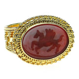 Carved Agate Pegasus Intaglio Ring