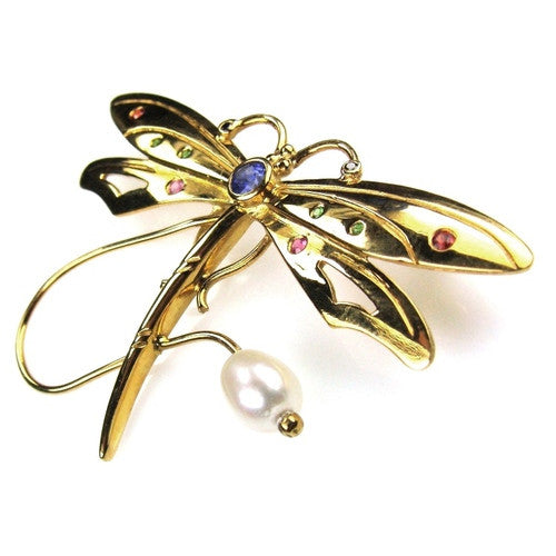 Sapphire Dragonfly Pin
