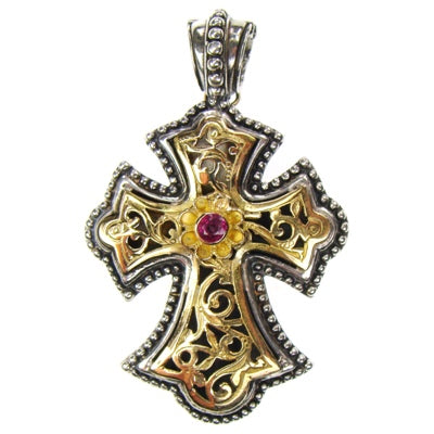 Large Garden Shadows Flared Rosette Western Cross with Ruby