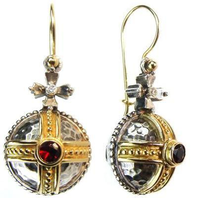 Cruciger Orb Garnet Earrings