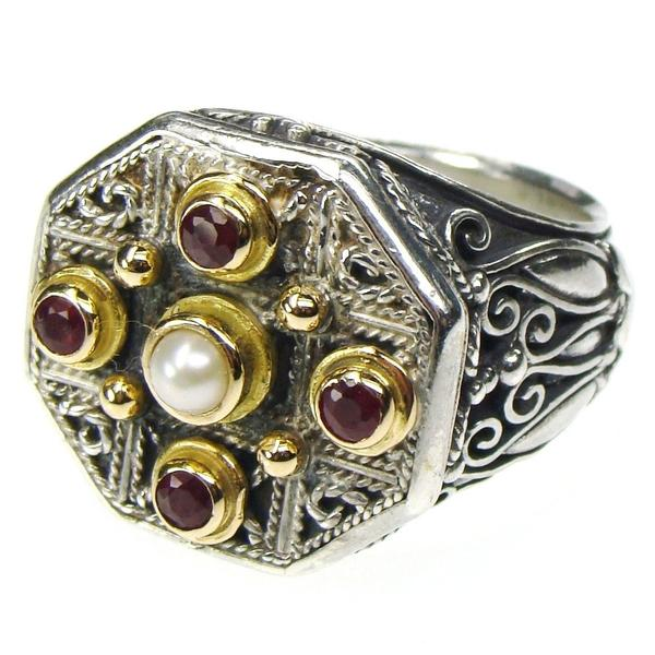 Ruby Stone Cross Octagon Ring