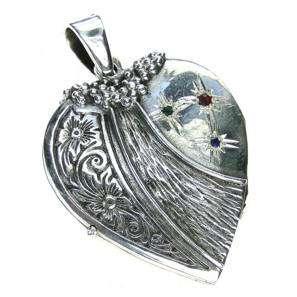 Silver Strawberry Heart Locket