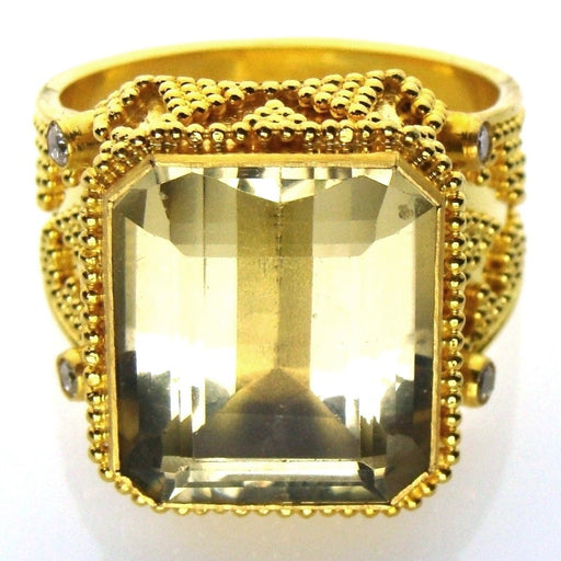 Diamond Sided Yellow Topaz Ring
