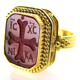 Carved Cross Intaglio Ring