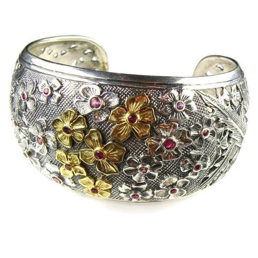 Evangelatos Gold and Silver Flower Field Cuff Bracelet