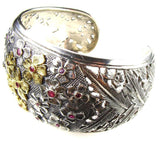 Evangelatos Gold and Silver Flower Field Cuff Bracelet side