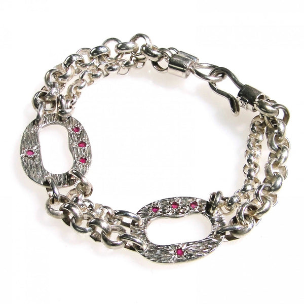 Evangelatos 3 Ruby Twin Station Bracelet