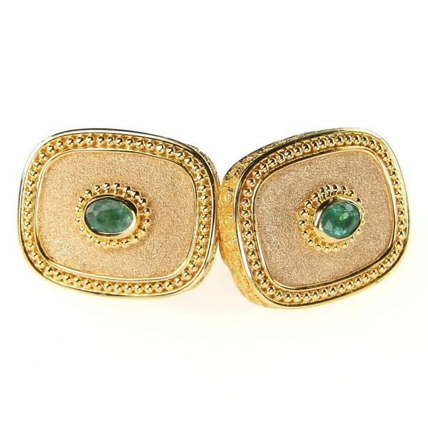 Emerald Circle Sided Cufflinks