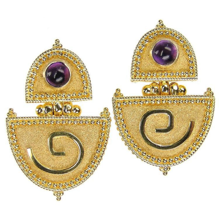 18k Gold Amethyst Hinged Earrings from Greece