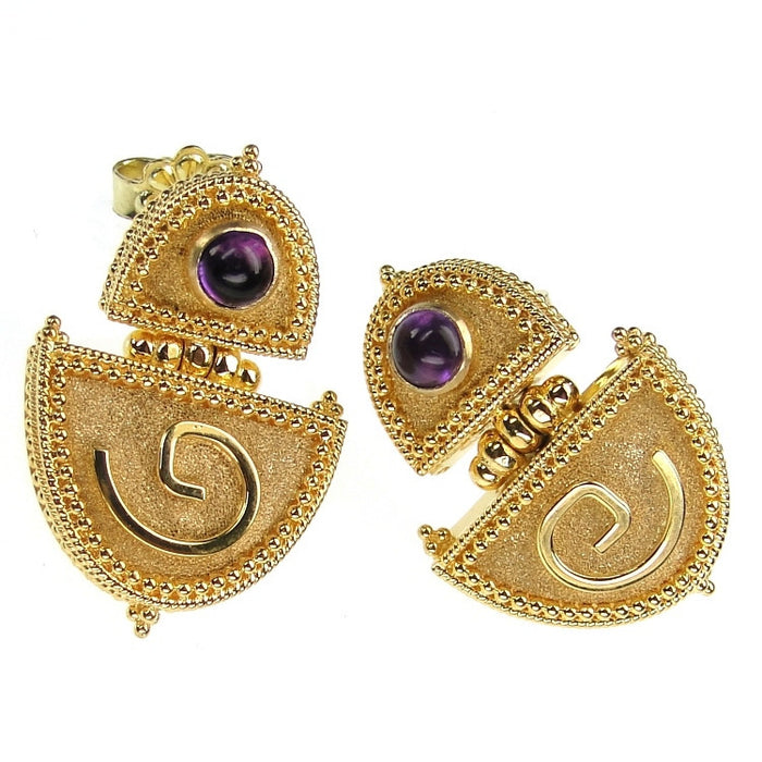 18k Gold Amethyst Hinged Earrings