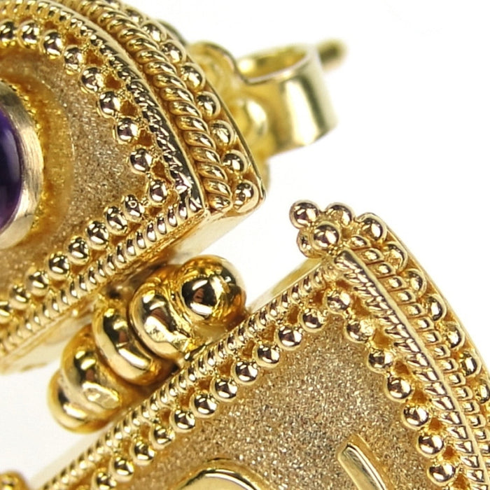 18k Gold Amethyst Hinged Earrings detailed view