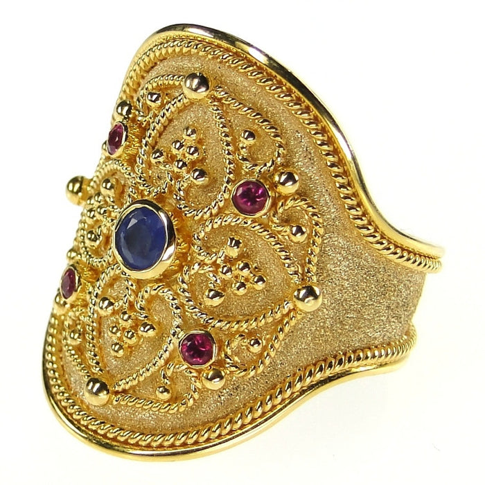 Broad Ruby and Sapphire Ring Side View