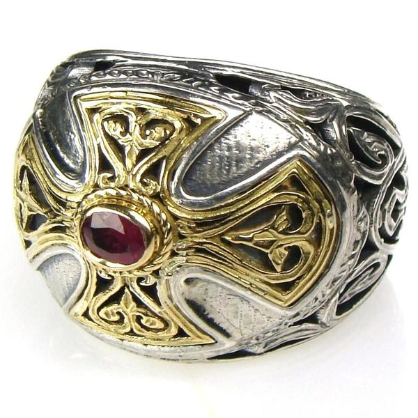 Ruby Cross Barrel Ring