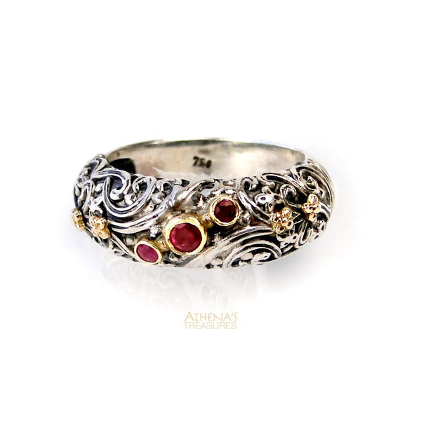 Stone Path Floral Band Ring