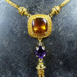 18k Gold Citrine Dangle Necklace
