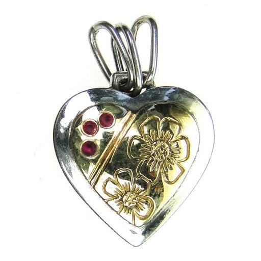 Flowers Heart Pendant with Rubies