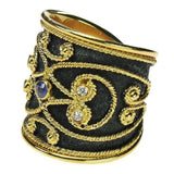 Black Gold Diamond and Sapphire Wide Synergy Band Ring Right Side