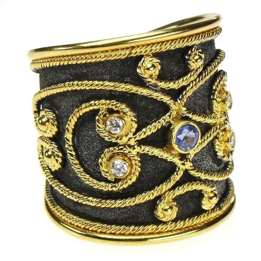 Black Gold Diamond and Sapphire Wide Synergy Band Ring Left Side