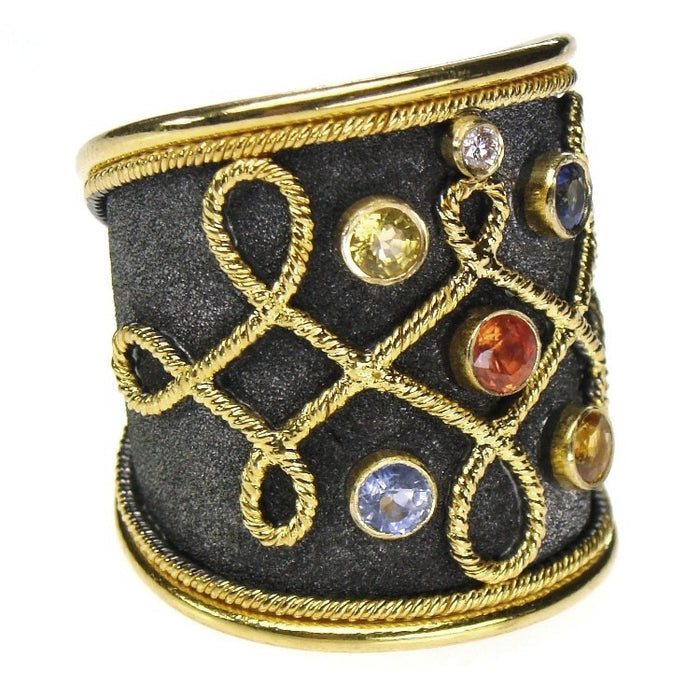 Multi Sapphire Black Gold Wide Band Ring