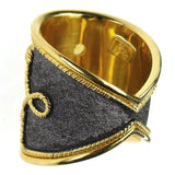 Multi Sapphire Black Gold Wide Band Ring Back View