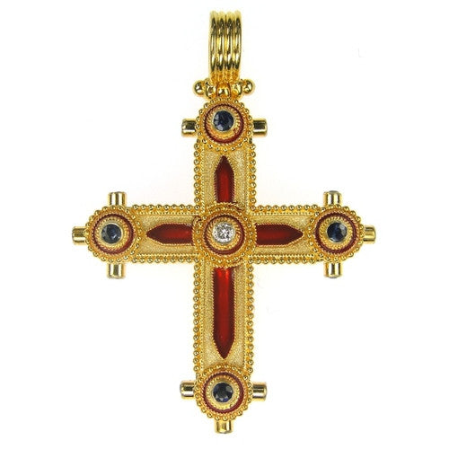 Diamond and Sapphires Enamel Cross