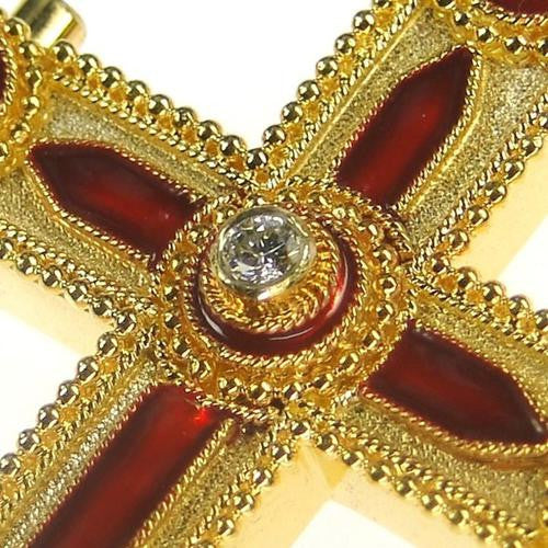 Diamond and Sapphires Enamel Cross Detailed