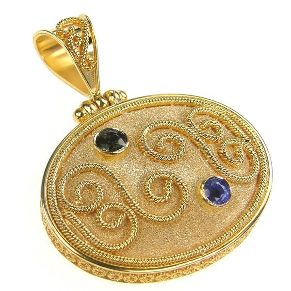 Twin Sapphire Grand Circle Sided Medallion