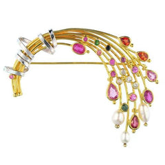 Weeping Sapphires Bouquet Pin