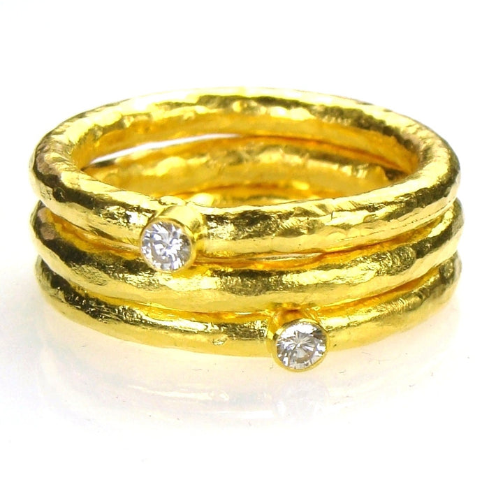 Hammered 24k Gold Diamond Stackable Band Ring Set
